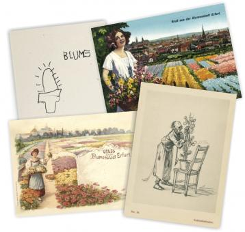 Postkartenserie 4 Stück - Grüße aus der Blumenstadt